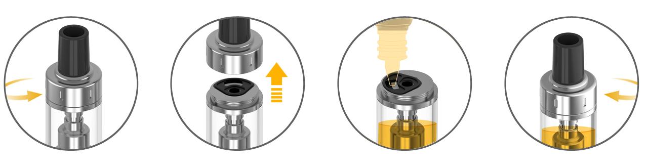 Remplissage en e-liquide du réservoir k-lite de la marque Aspire